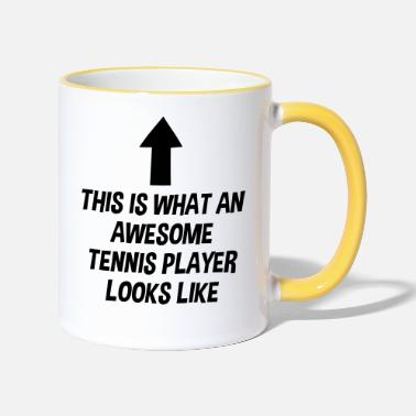 Player awesome tennis player looks like arrow - Two-Tone Mug