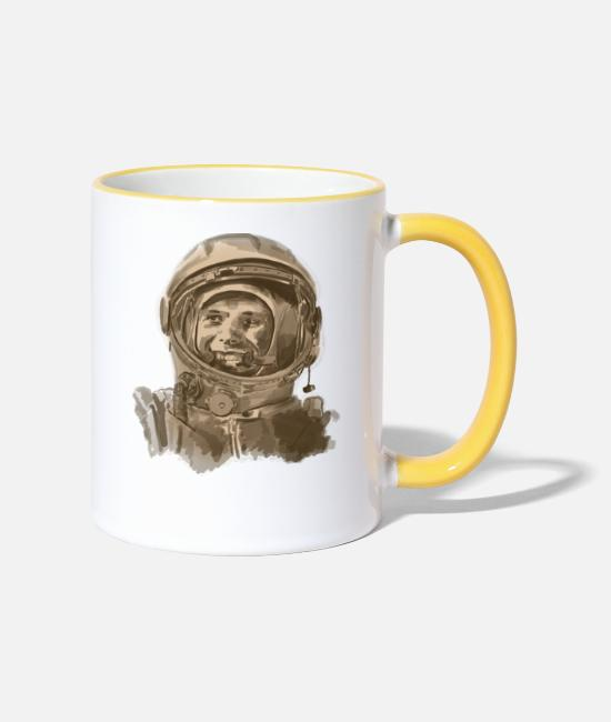 Space Mugs & Drinkware - kosmonaut - Two-Tone Mug white/yellow