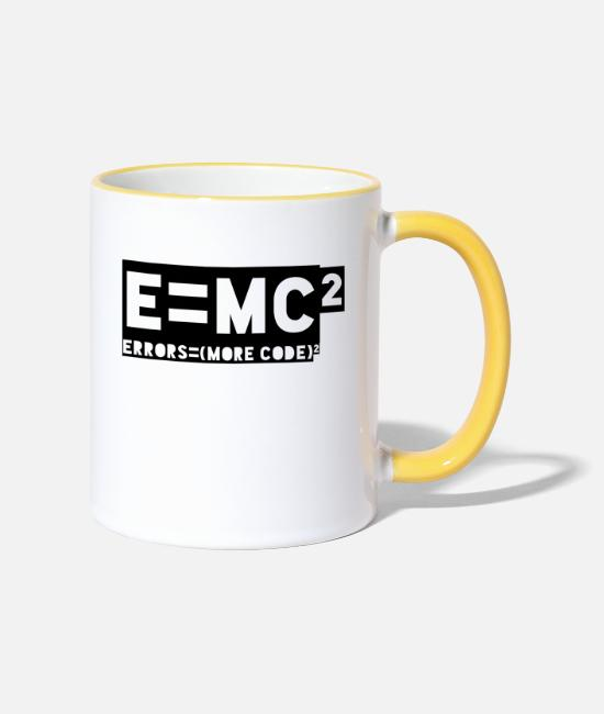Programmemer Mugs & Drinkware - E = mc2 - errors = (more code) 2 - Two-Tone Mug white/yellow
