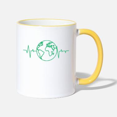 Earth Day Earth Day / Earth Day: heart rate of the earth - Contrasting Mug