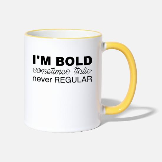 Love Mugs & Drinkware - Im bold - Two-Tone Mug white/yellow