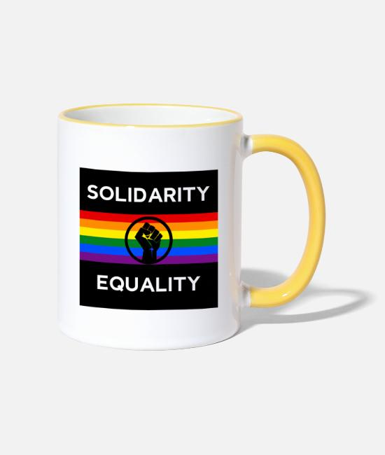 Gay Pride Mugs & Drinkware - Black lives matter - Two-Tone Mug white/yellow