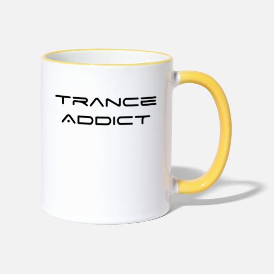 Trance Mugs & Drinkware - Trance Addict - Two-Tone Mug white/yellow