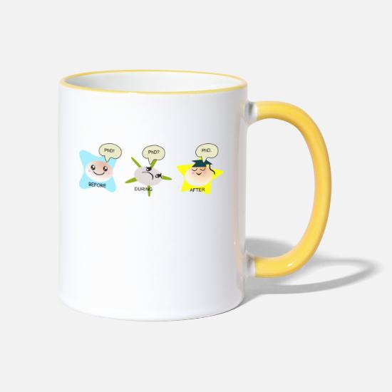 Phd Mugs & Drinkware - PhD student process Hoodies & Sweatshirts - Two-Tone Mug white/yellow