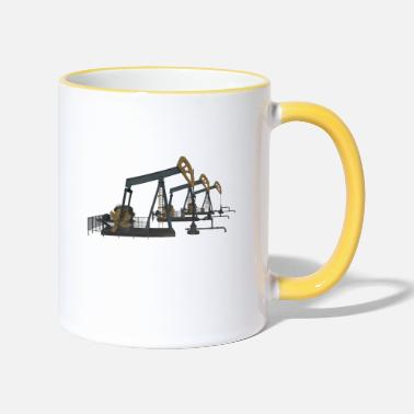 Crude Oil Oil pumps, oil production, oil production, oil - Two-Tone Mug