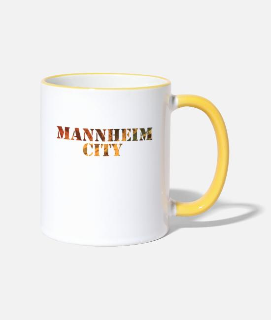 Quadrat Mugs & Drinkware - Mannheim City - Two-Tone Mug white/yellow