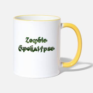 Zombie Apocalypse Retro Logo Splatter Horror Movie - Mug bicolore