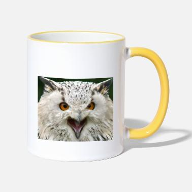 Face and head of a snowy owl - Two-Tone Mug
