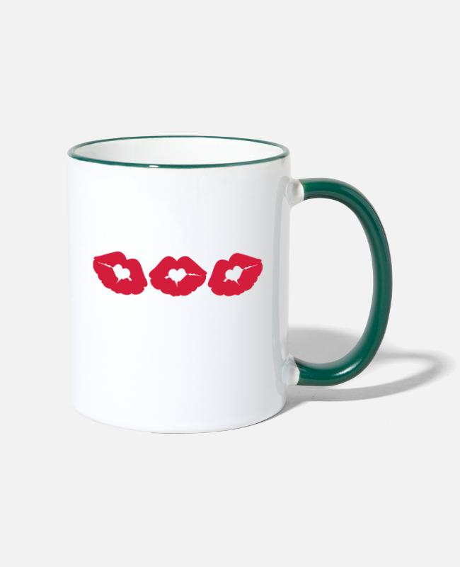 I Love You I Want To Kiss You Passionate Beautiful Sexy Full Lips Neon Hot Pink Fuchsia Baby Pink Mugs & Drinkware - ♥ټXxSexy Hearted Red Luscious Sensual Lips xXټ♥ - Two-Tone Mug white/dark green