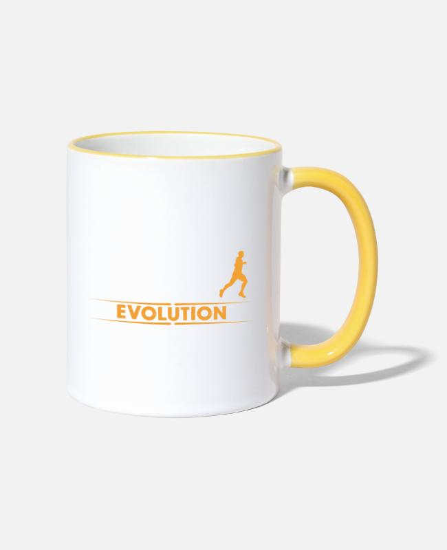 I Love Mugs & Drinkware - Running Evolution - orange/weiss - Two-Tone Mug white/yellow