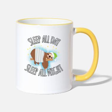 Day Sleep All Day Sleep All Night - Paresseux paresseux - Mug bicolore