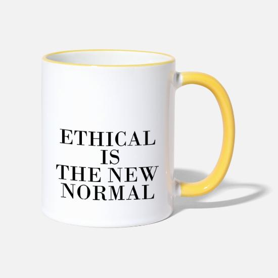 Ethics Mugs & Drinkware - ethical is the new normal - Two-Tone Mug white/yellow