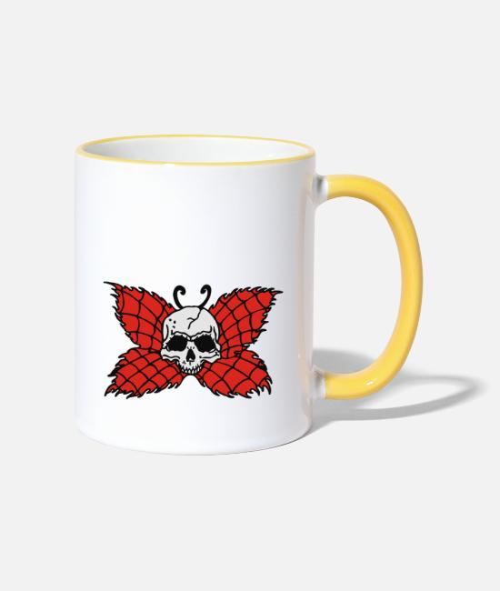 Satan Kult Mugs & Drinkware - Poison Butterfly Skull Tattoo - Two-Tone Mug white/yellow