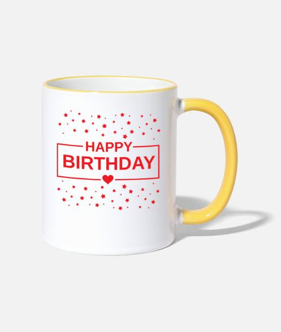 Party Mugs & Drinkware - Happy Birthday Birthday - Two-Tone Mug white/yellow
