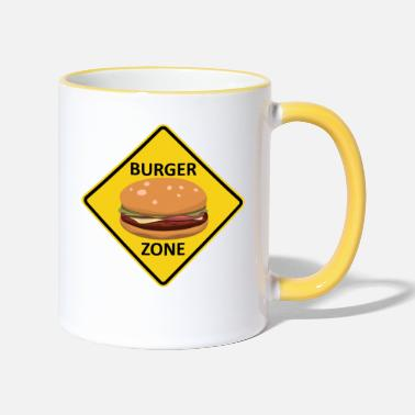 Cheeseburger Burger Zone Hamburger Cheeseburger street sign - Two-Tone Mug