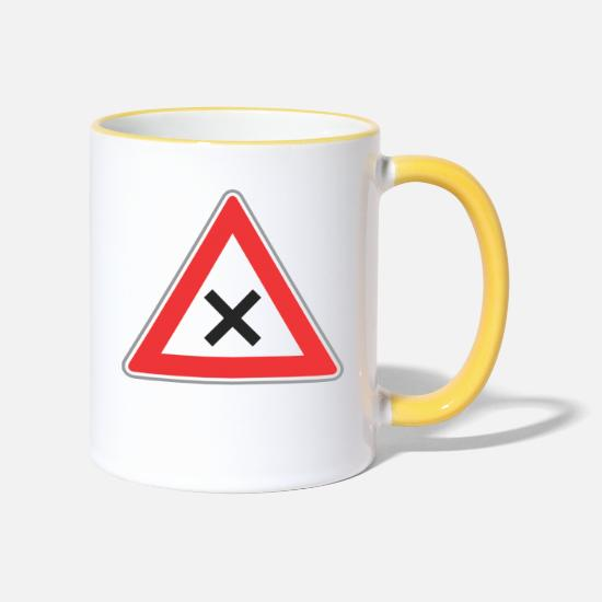Road Construction Mugs & Drinkware - Road Sign x sign - Two-Tone Mug white/yellow