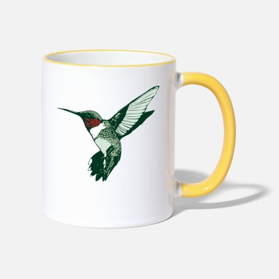 Tropical Mugs & Drinkware - humming-bird - Two-Tone Mug white/yellow