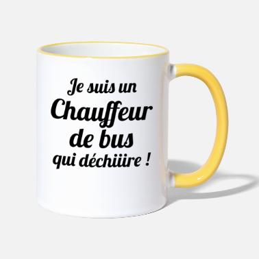 Car Bus / Conducteur / Travail / Métier / Job - Mug bicolore