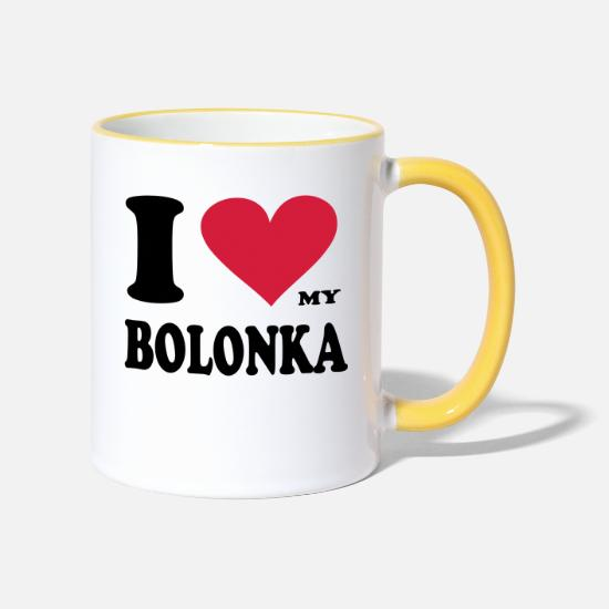 Red Mugs & Drinkware - i_love_my_bolonka original exit-shirt - Two-Tone Mug white/yellow