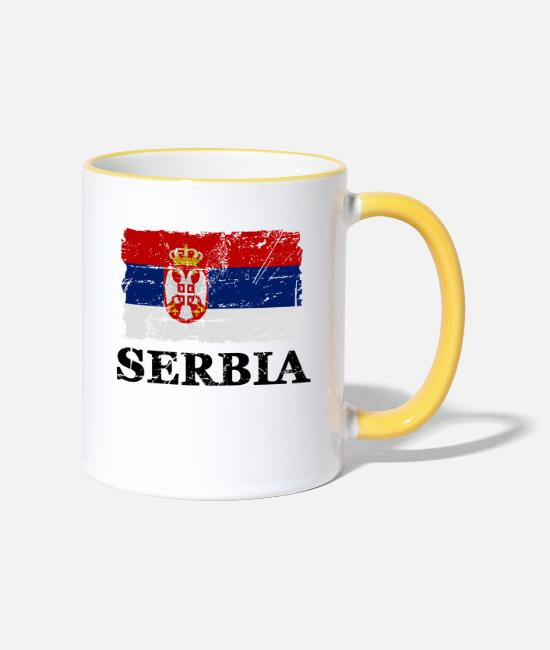 Belgrade Mugs & Drinkware - Serbia - flag - banner - flag - flag - Two-Tone Mug white/yellow