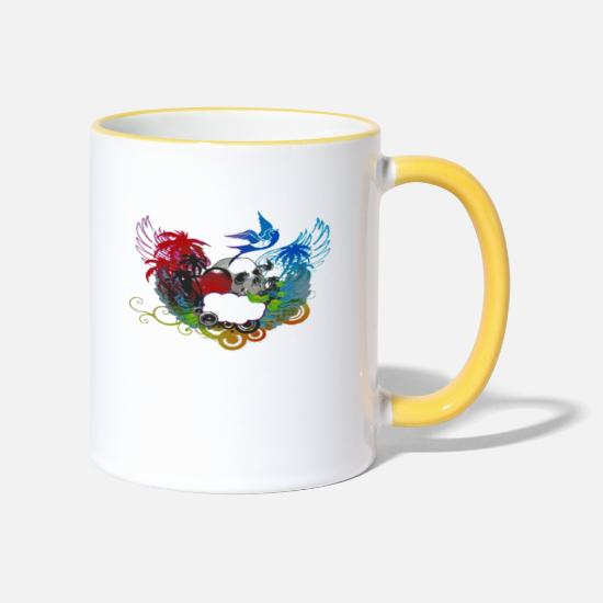 Devil Mugs & Drinkware - Skull, Skull, Nature, Music, Birds, Angel - Two-Tone Mug white/yellow