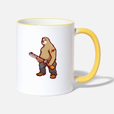 Hill Billy Lustiges Faultier Hill Billy Shotgun Geschenk - Tasse zweifarbig