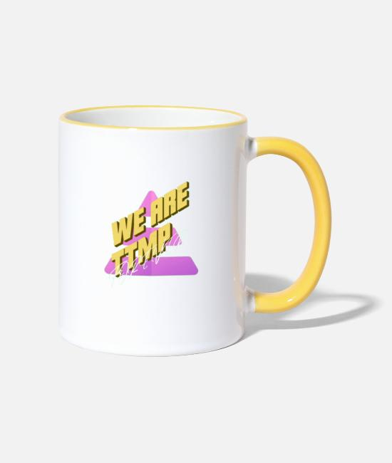 Handicap Mugs & Drinkware - WE ARE TTMP - Two-Tone Mug white/yellow