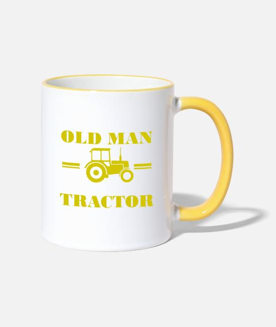 Grandpa Mugs & Drinkware - Never underestimate an old man with a tractor - Two-Tone Mug white/yellow