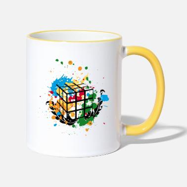 Rubik's Cube Colourful Splatters - Two-Tone Mug