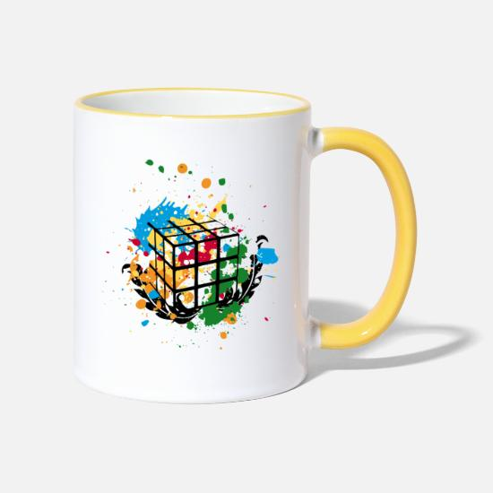 Cube Mugs & Drinkware - Rubik's Splatter Cube - Two-Tone Mug white/yellow