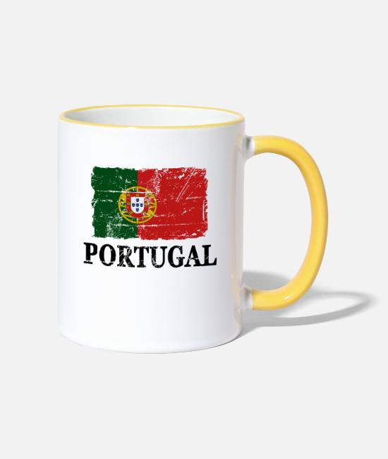 Banner Mugs & Drinkware - Portugal - flag - banner - flag - flag - Two-Tone Mug white/yellow