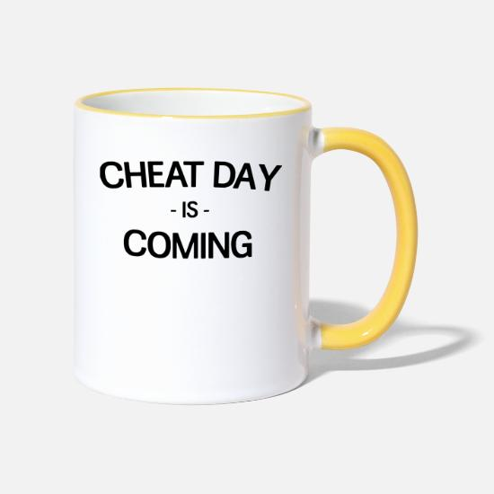 Work Out Mugs & Drinkware - Cheat Day is coming - Two-Tone Mug white/yellow