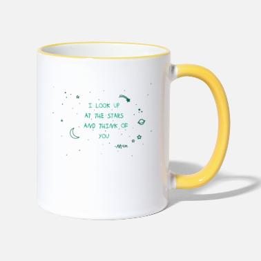 Bestseller I look up at the stars, planets, skies, commemoration - Two-Tone Mug