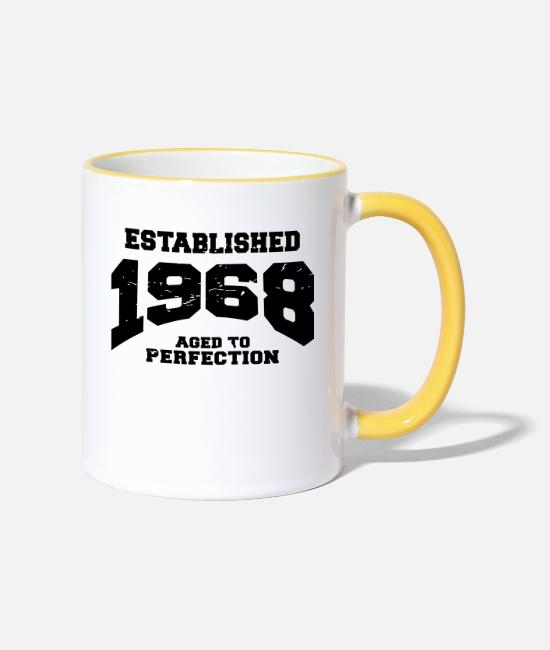 Bday Mugs et tasses - Established 1968 - Mug bicolore blanc/jaune