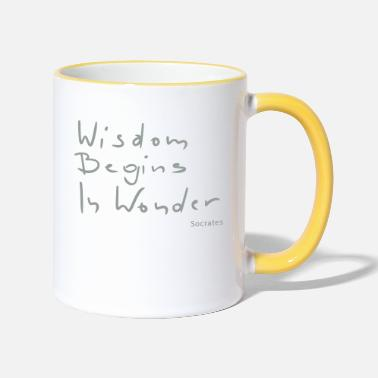 Socrates Wisdom begins in wonder - Two-Tone Mug