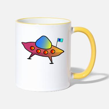 Scifi UFO, flying saucer, spaceship, scifi - Two-Tone Mug