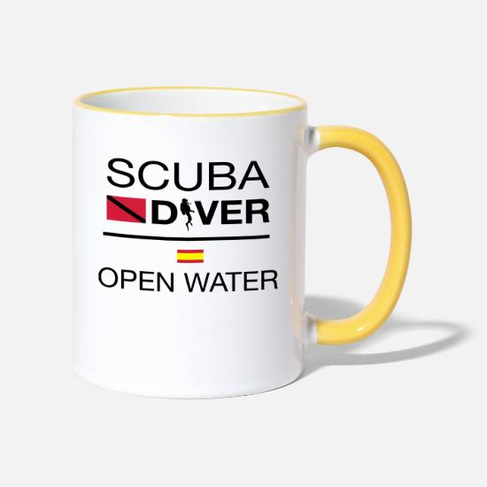 Diving Mugs & Drinkware - SCUBA DIVER BUCEADOR - Two-Tone Mug white/yellow