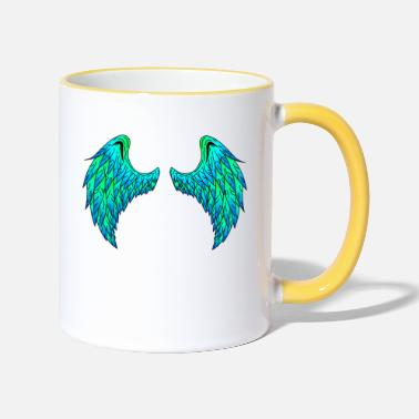 Large Angel wings (green / blue)! Gift idea! - Two-Tone Mug