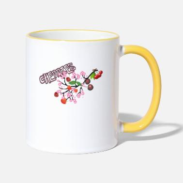Cherry Blossom Cherries. Cherries with cherry blossoms. - Two-Tone Mug