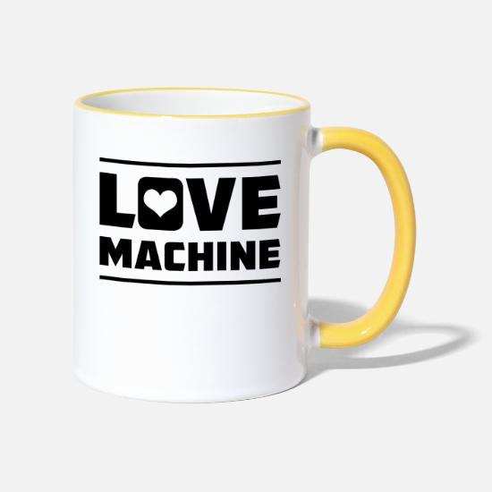 Dirty Mugs & Drinkware - Love Machine - Two-Tone Mug white/yellow