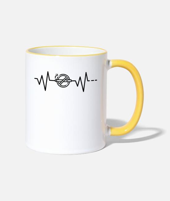 Cigarette Mugs & Drinkware - Heartbeat No Smoking, No Smoking, No Smoking - Two-Tone Mug white/yellow