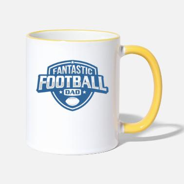 Fantastic Football Dad fantastic football dad badge style - Two-Tone Mug