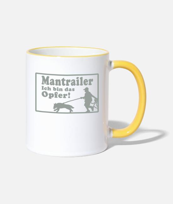 Mantrailer Mugs & Drinkware - mantrailer_opfer dog dogs - Two-Tone Mug white/yellow