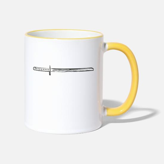 Gift Idea Mugs & Drinkware - Samurai katana sword - Two-Tone Mug white/yellow