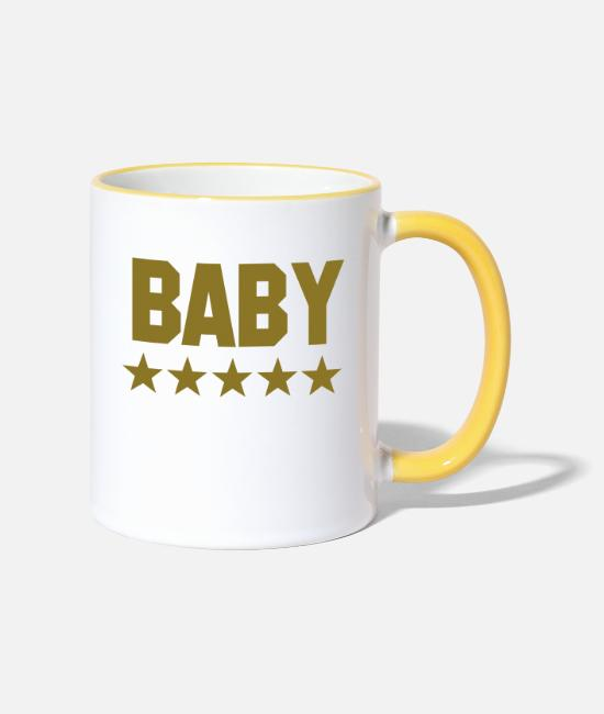 Pregnant Mugs & Drinkware - baby - Two-Tone Mug white/yellow