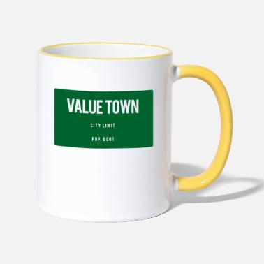 Town Value Town town sign - Two-Tone Mug