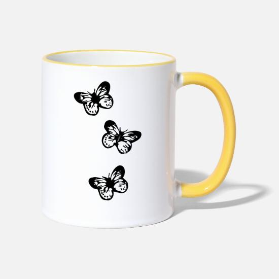 Butterfly Mugs & Drinkware - butterfly, butterflies, - Two-Tone Mug white/yellow