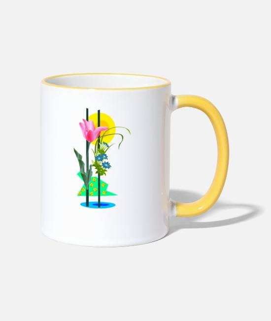 Pretty Pretty Mugs & Drinkware - Picture with flowers - Two-Tone Mug white/yellow
