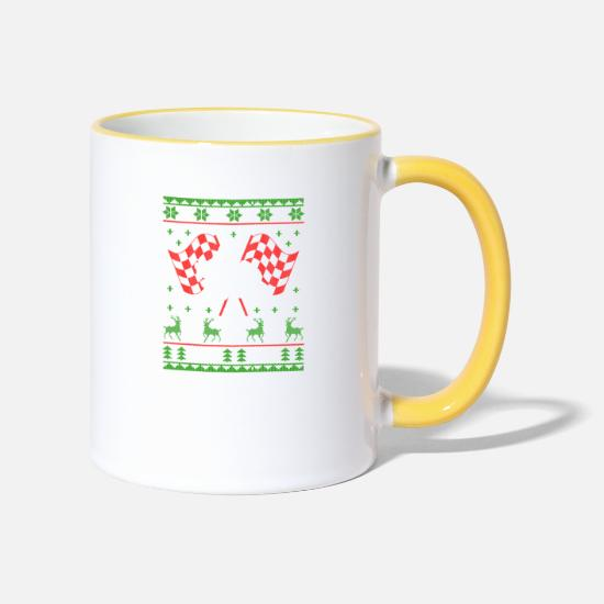 Motorcycle Mugs & Drinkware - Motorcycle Superbike Ugly Christmas Jumper - Two-Tone Mug white/yellow
