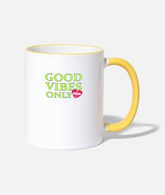 Friendship Mugs & Drinkware - Good Vibes Only in green - Two-Tone Mug white/yellow